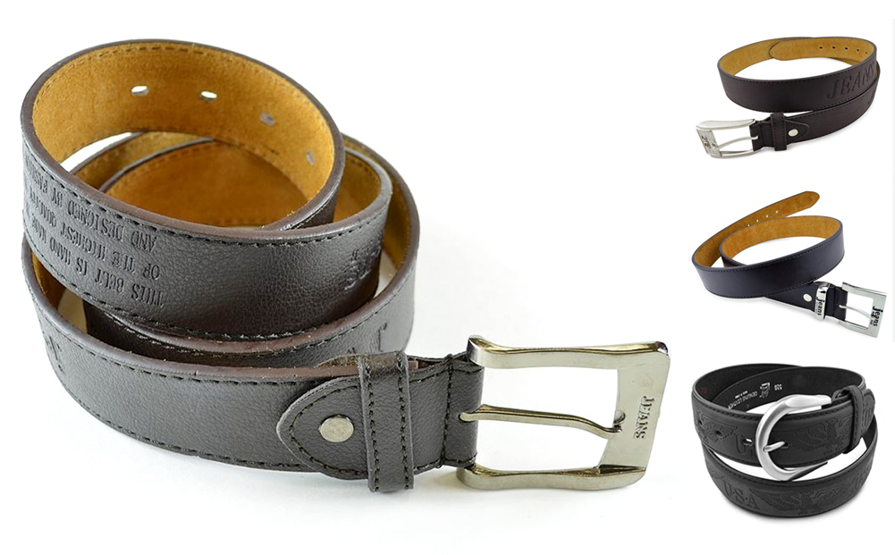 Moda Di Raza-Men Leather Belt - Jean Dress Belt With Buckle Desginer Inspired