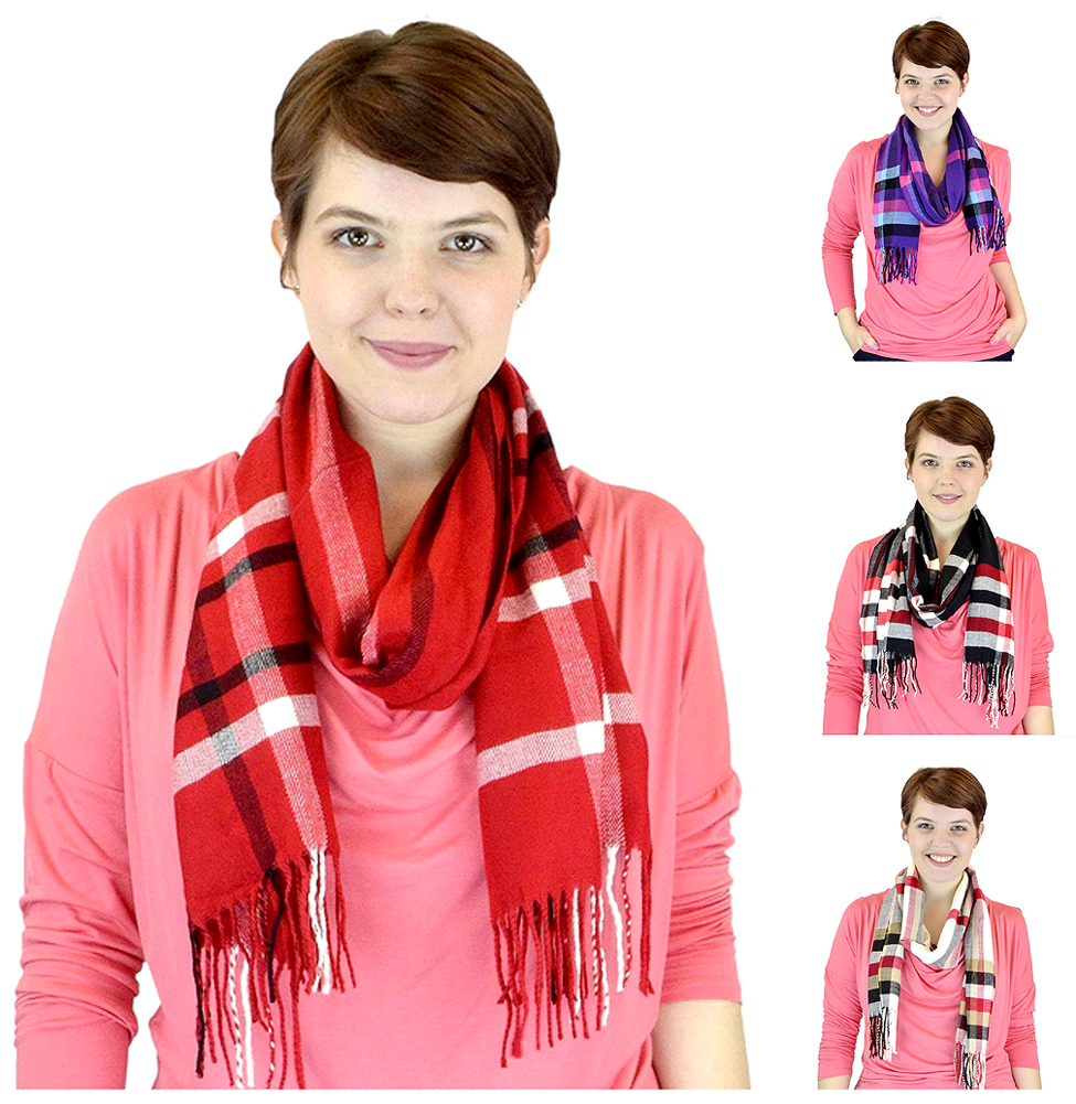 Belle Donne - Womens and Mens Cashmere Feel Winter Plaid Scarves Shawl Wrap