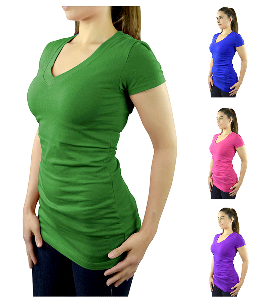 Belle Donne- Women's Short Sleeve V-neck T-shirt Plus Size Various Solid Colors