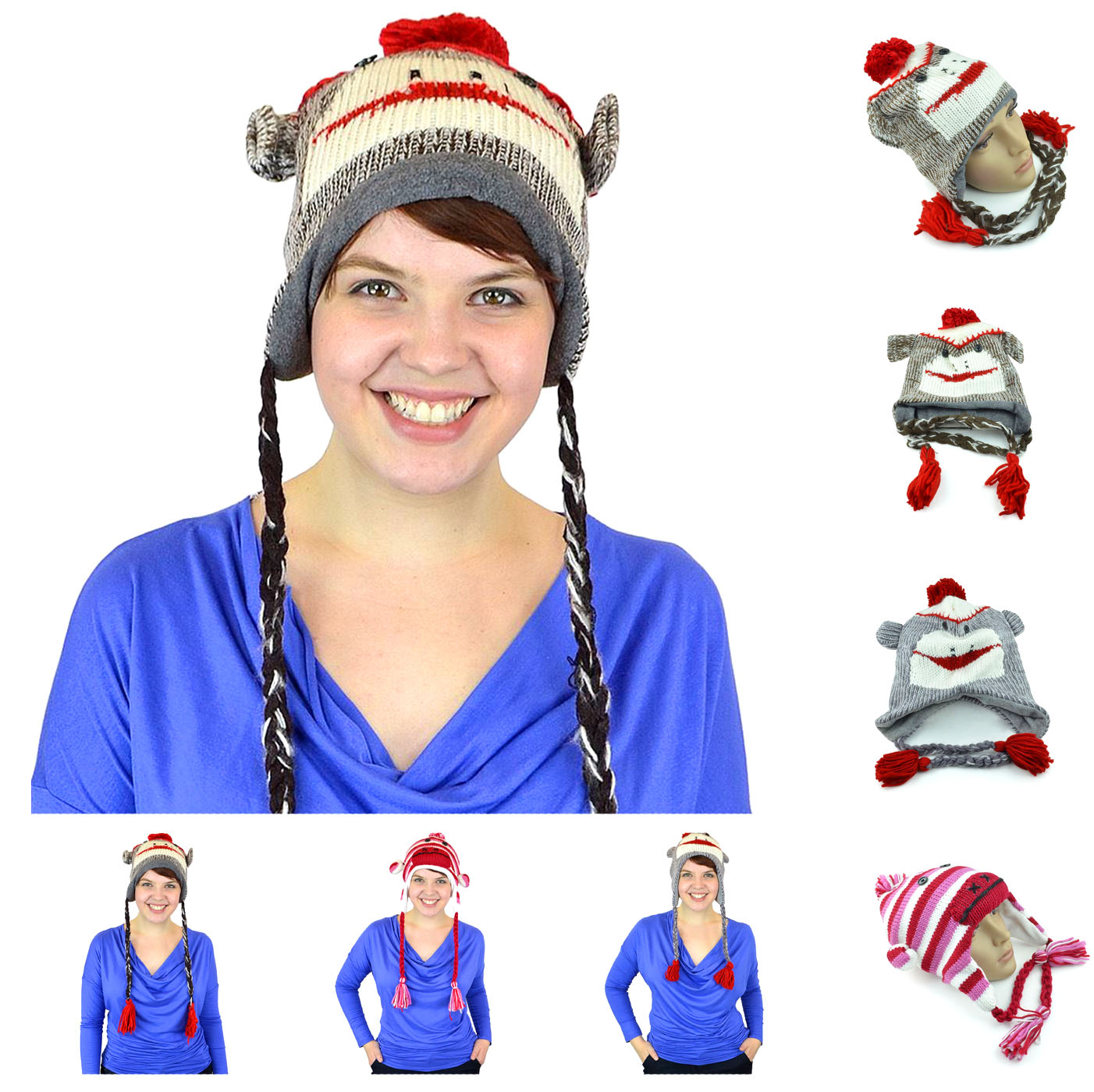 Unisex Warm Womens Mens Cute Sock Monkey Hat and Gloves Youth Adult