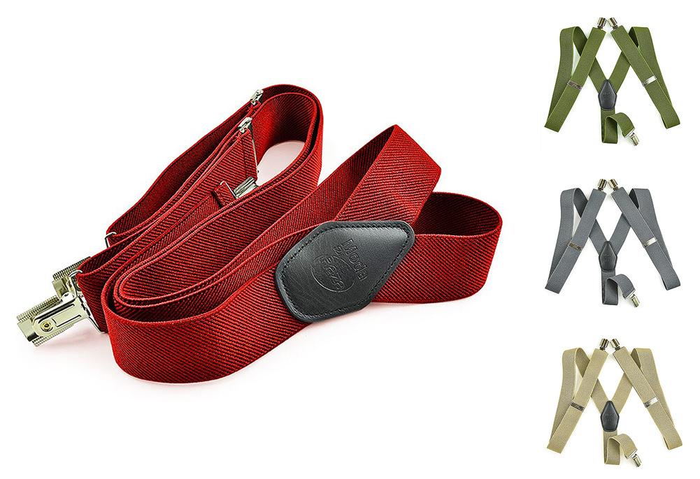 """Moda Di Raza Suspender For Men Heavy Duty Y Type Clip 2"""" Adjustable Straight Clip Suspenders"""