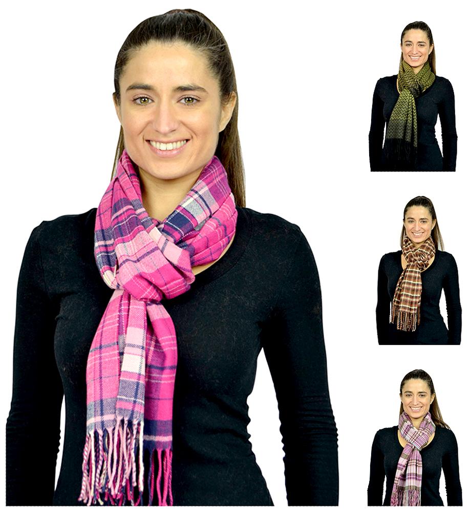 Belle Donne- Women Cashmere Feel Scarf - Plaid / Warm Winter Fashion Scarves
