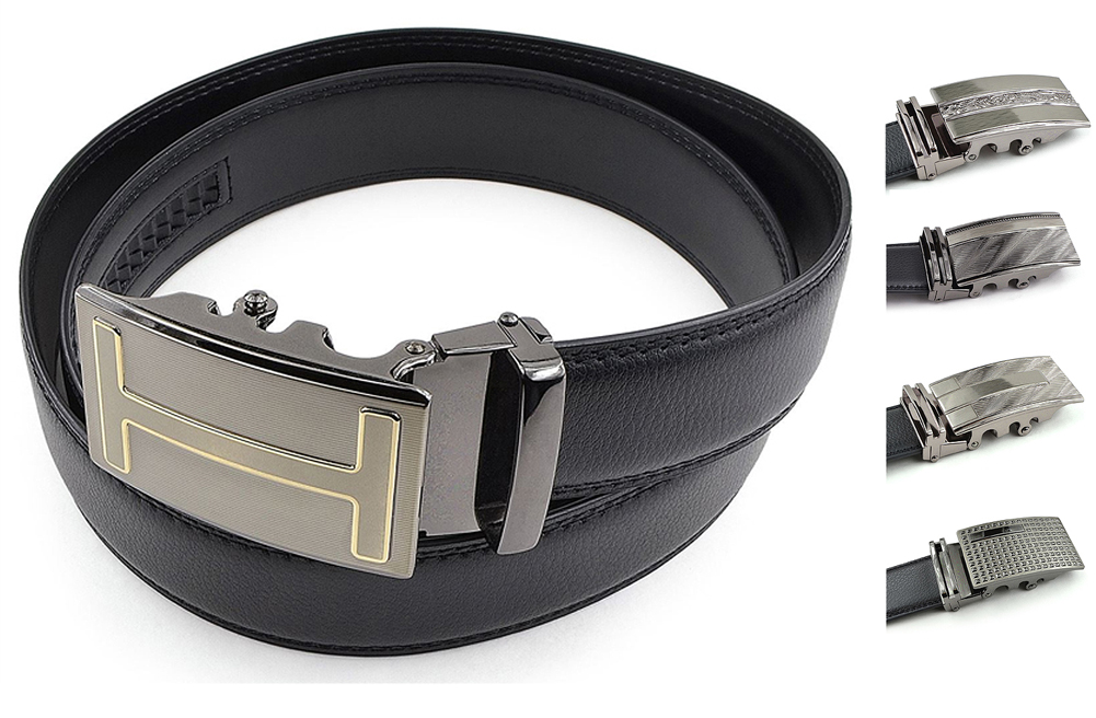 Mens Leather Belt with Automatic Slide Buckle - Black PU Leather Ratchet Belt by Moda Di Raza