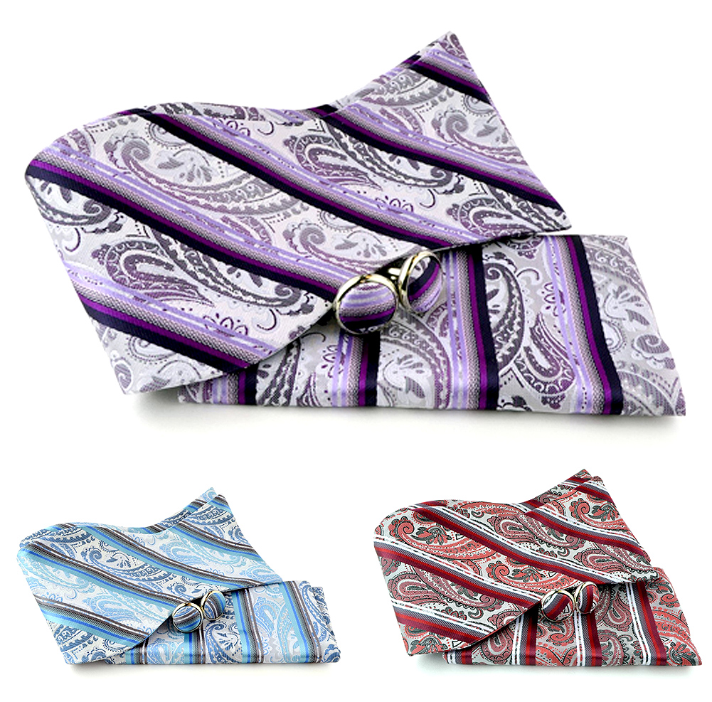 Uomo Vennetto Men's Self Bowtie - Paisley Polyester Bow Tie and Cufflinks Set