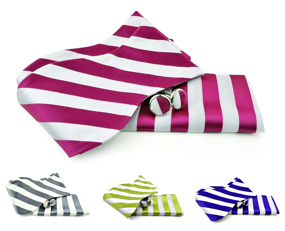 Uomo Vennetto Men's College Striped Polyester Self Tie -Bow Tie and Cufflink Set