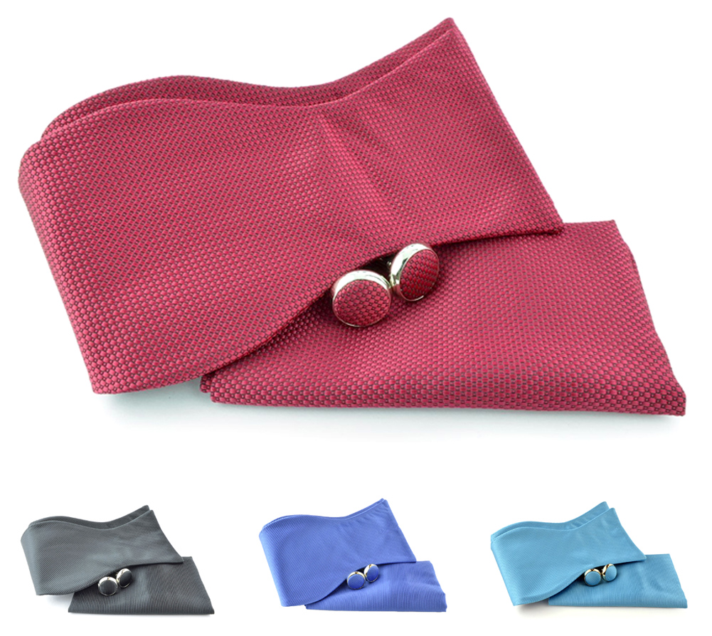 Uomo Vennetto Mens Clean Solid Color Self Tie - Bow Tie Hanky and Cufflinks Set