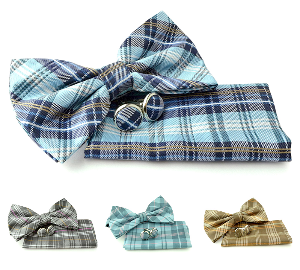 Uomo Vennetto Men's Plaid Polyester Bow Tie - Bow Tie Hanky and Cufflinks Set