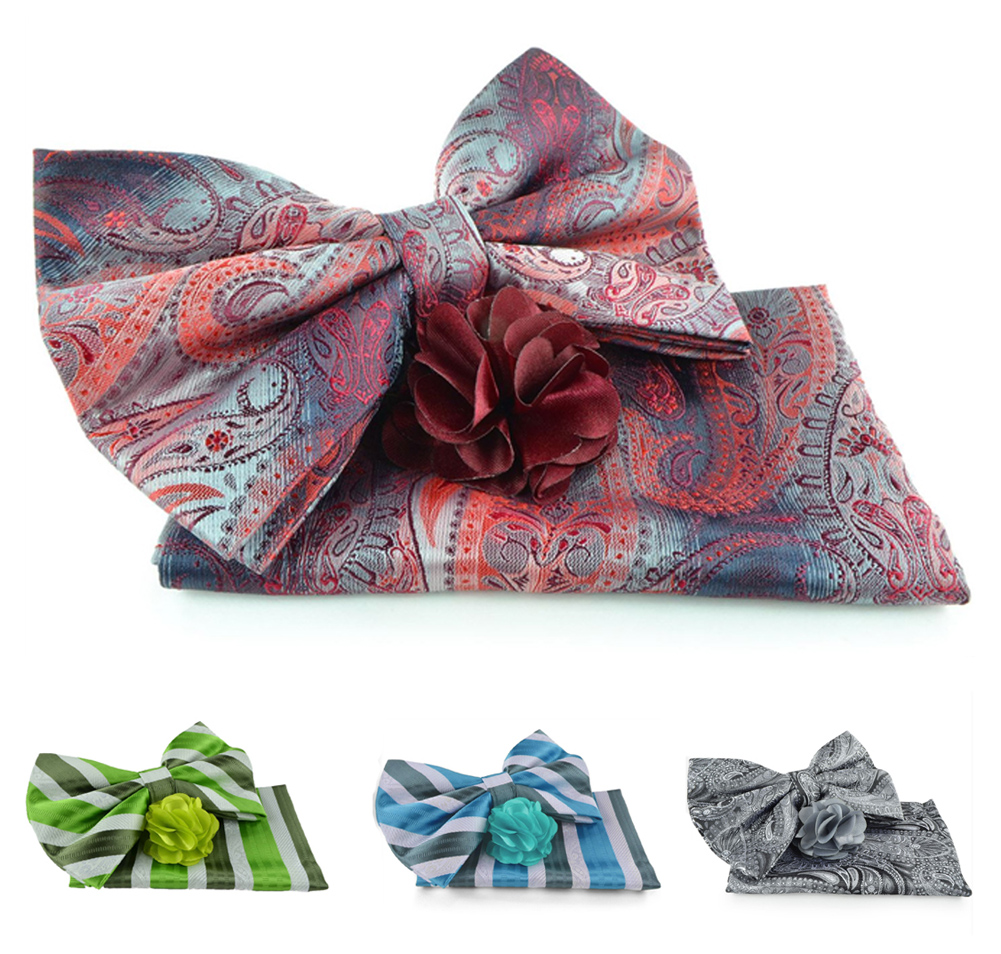 Uomo Vennetto Men's Bow tie -Fashion Bow Tie, Hanky and Flower Lapel Pin Set