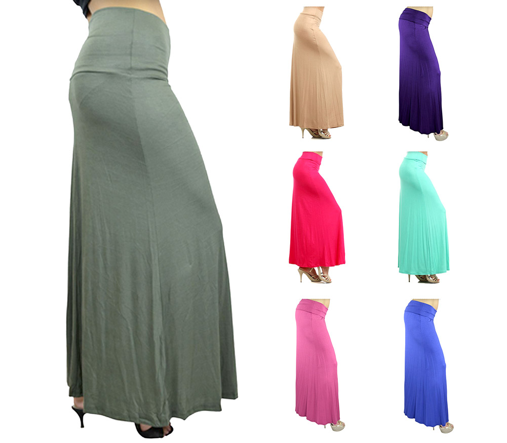 Belle Donne- Women's Maxi Skirt Stretchy Full Length Solid Color Long Skirt
