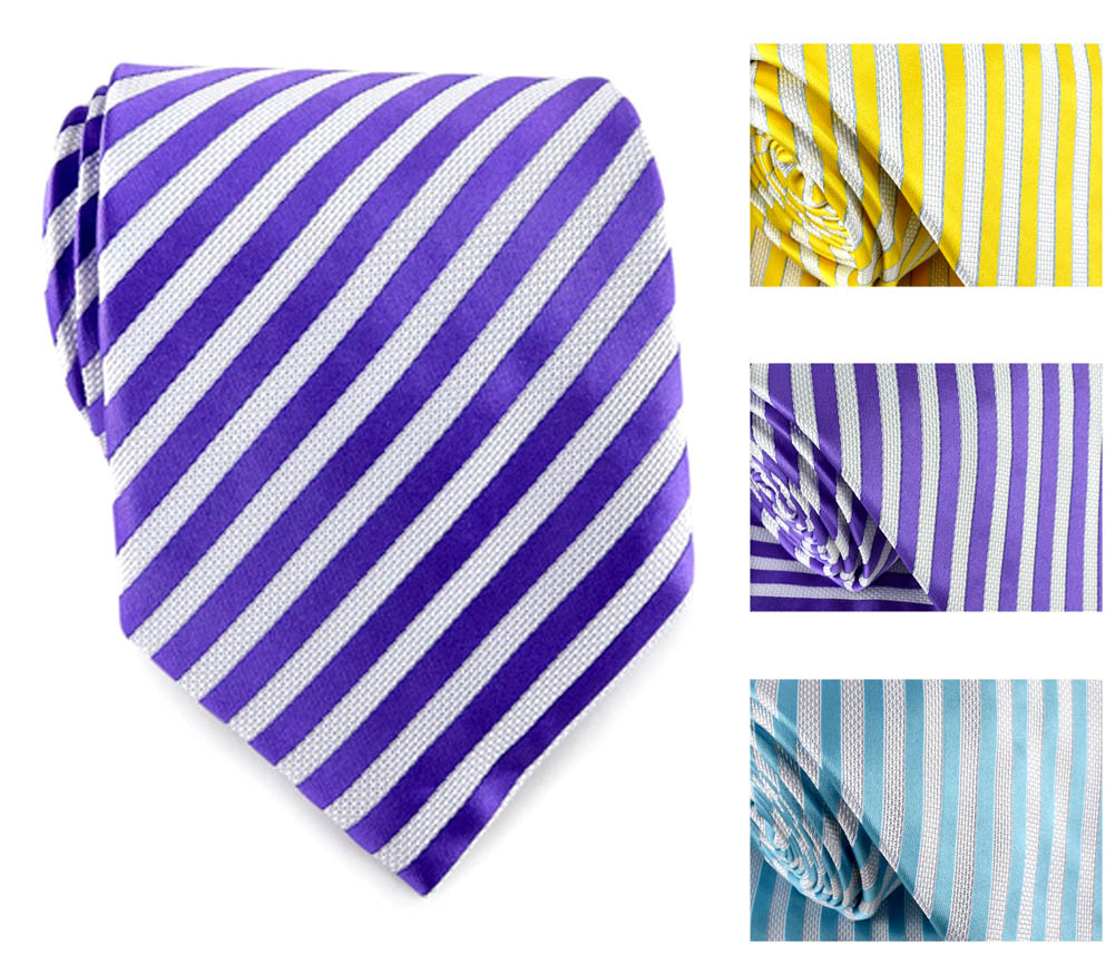 Uomo Vennetto Men's Tie - Clean Thin Striped Tie and Handkerchief Stylish Fashio