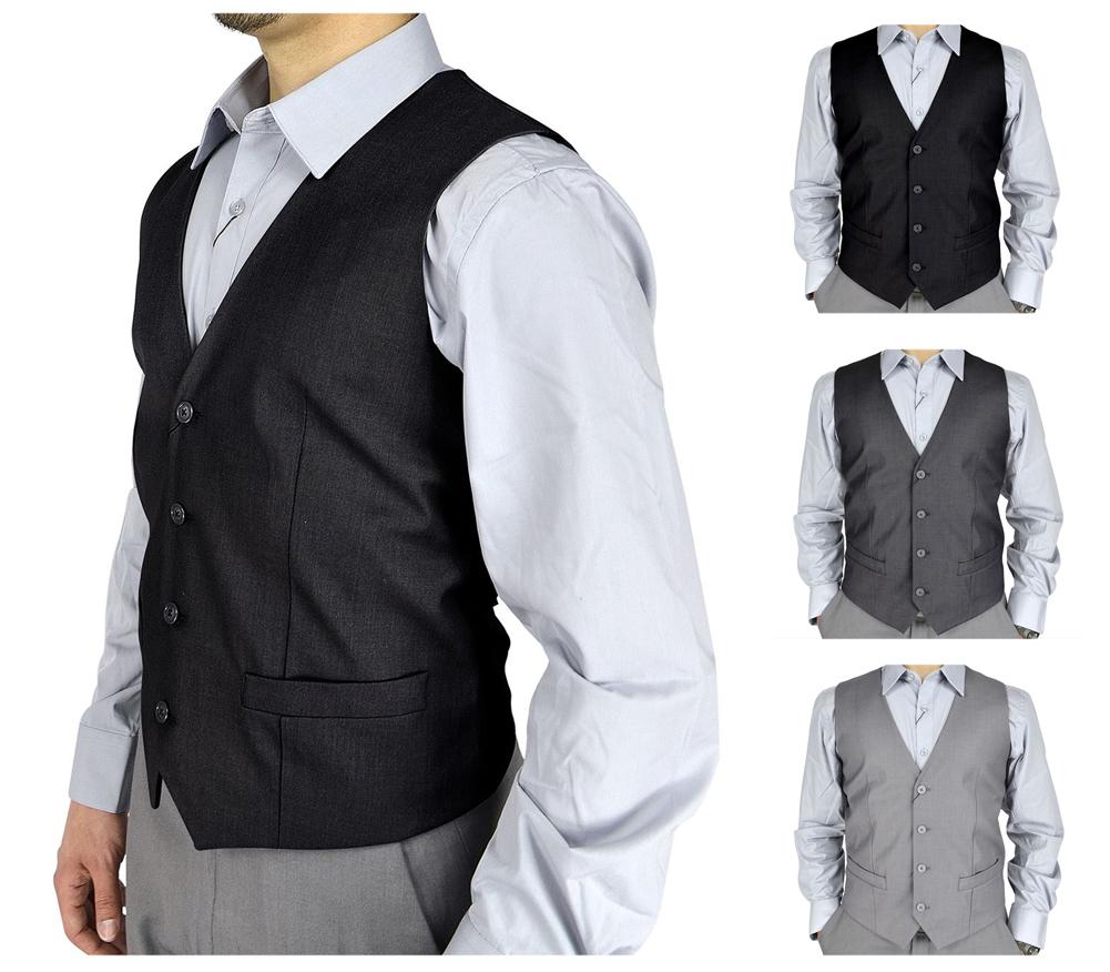 Moda Di Raza Mens V-Neck Formal Slim Wedding Fashion Solid Color Dress Suit Vest