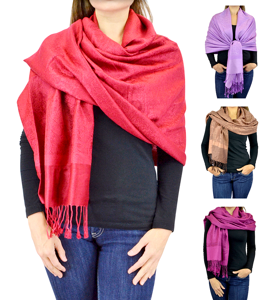 Belle Donne Jacquard Paisley Pashmina Soft Wrap Shawl Stole Tapestry Scarf