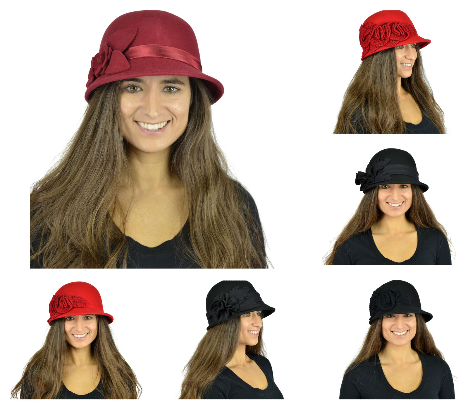 Belle Donne - Women's Pure Wool Cloche Hats - Many Colors