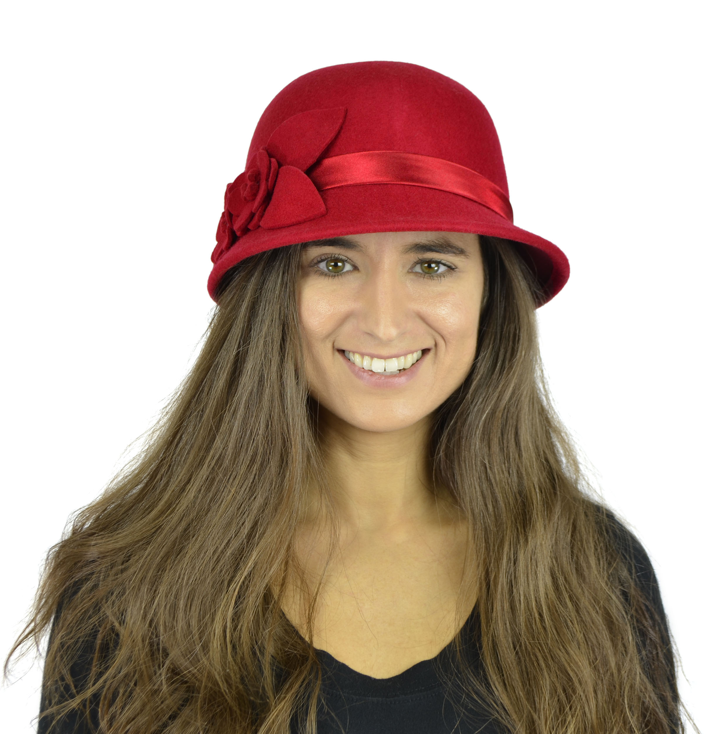 Belle Donne - Women's Pure Wool Cloche Hats - Red