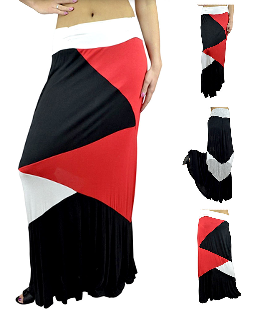 Belle Donne- Women's Ankle Length Block Skirt Spring Skirt Fashion Maxi Skirts