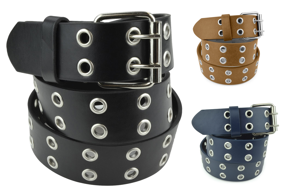 Double Grommet Leather Belt - PU Leather - Double Prong Belt Buckle - 2 Hole Grommet Belt for Women or Men by Belle Donne