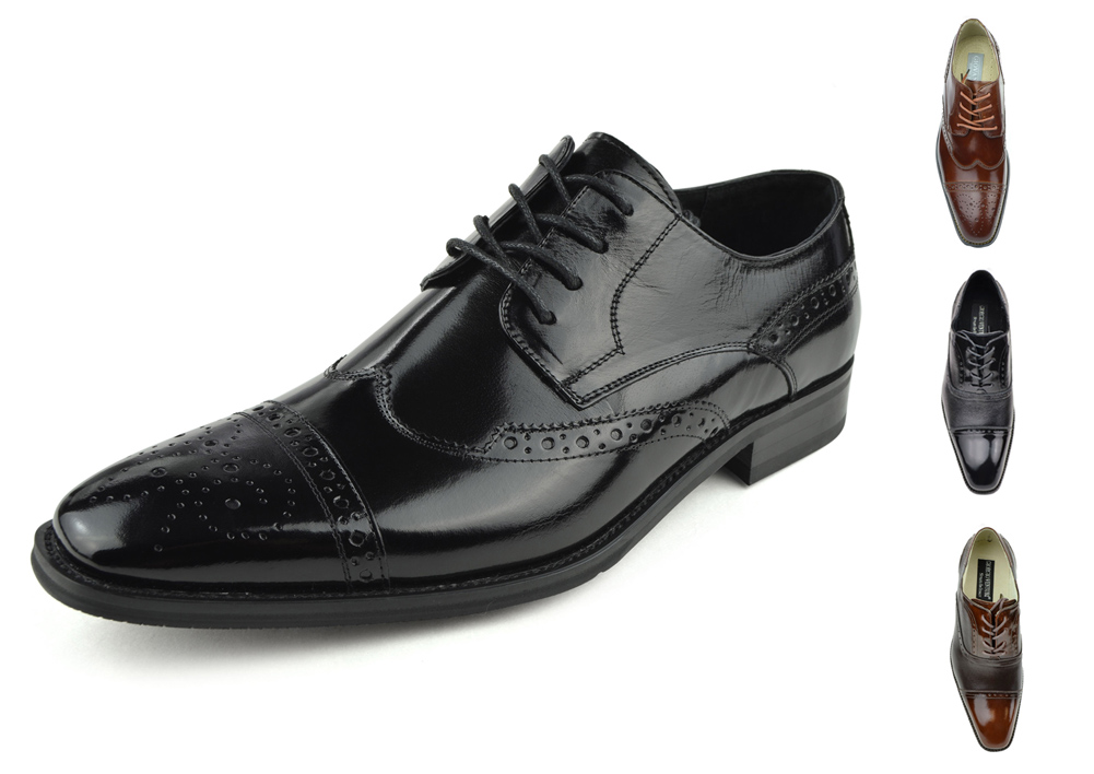 Moda Di Raza - Men's Oxford Lace Dress Shoes Sleek Trendy Light Shine