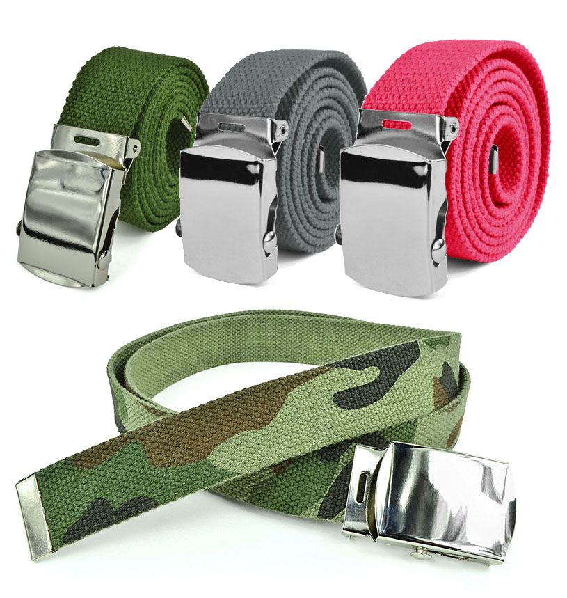 "Canvas Web Belt - Military Style Belt with Silver Chrome Slide Buckle and Tip - 44"" Long - Solid Color Belts by Belle Donne"