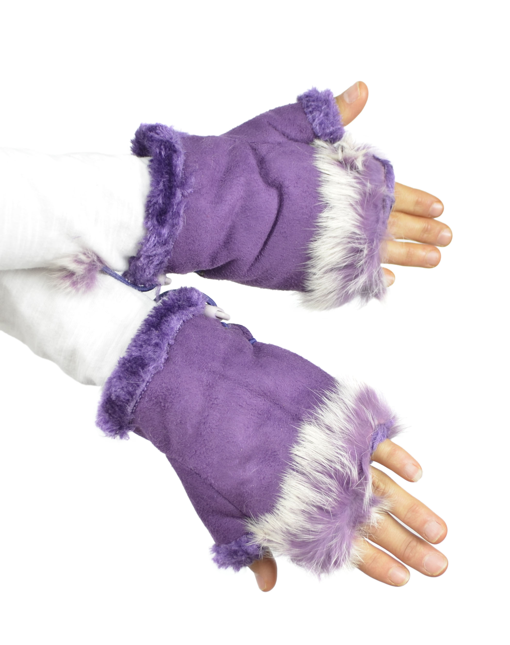 Belle Donne - Women's Fingerless Faux Fur Trim Gloves - Orchid