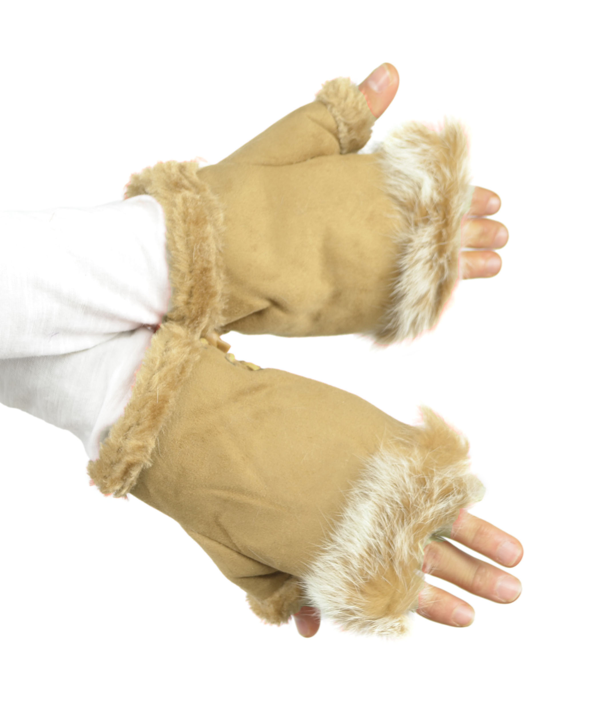 Belle Donne - Women's Fingerless Faux Fur Trim Gloves - Sand