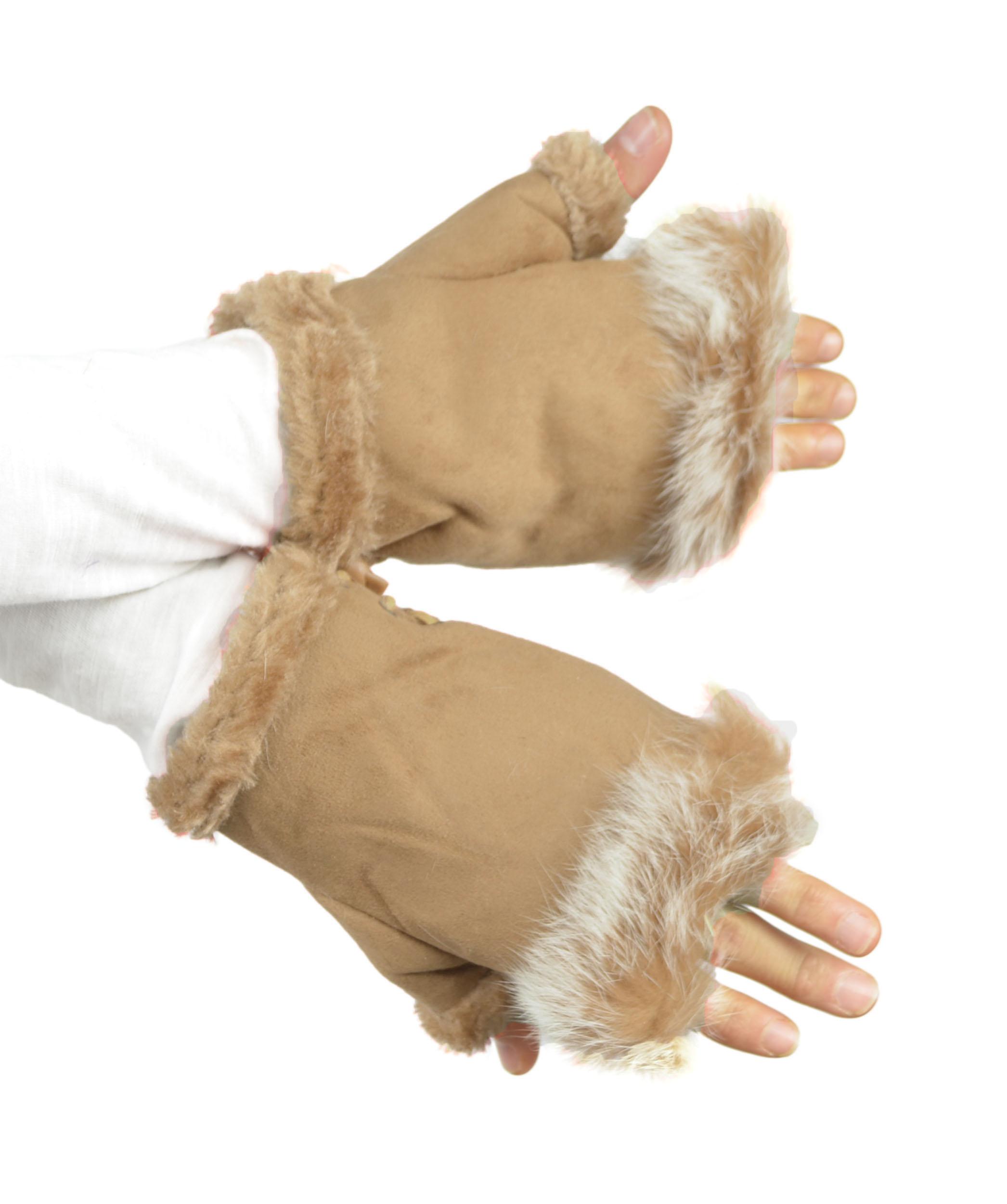 Belle Donne - Women's Fingerless Faux Fur Trim Gloves - Taupe