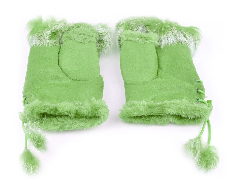 Belle Donne - Women's Fingerless Faux Fur Trim Gloves - Mint