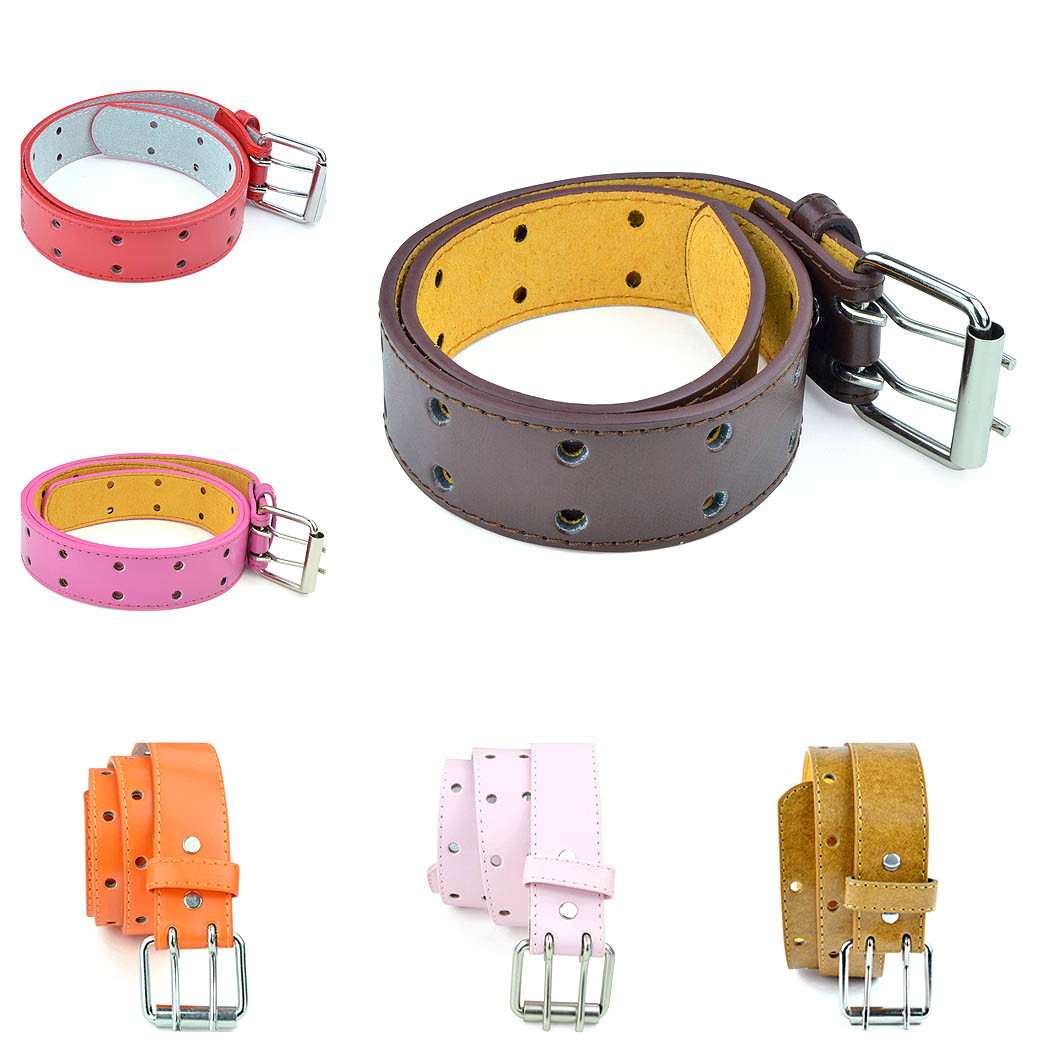 Kids 2 Holes Belt Double Prong Buckle PU Leather Glittery