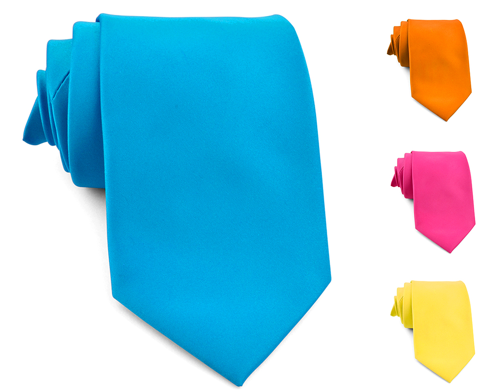 "Mens Neckties - Solid Color Ties - Multiple Colors - Classic 3.5"" width Long Ties by Moda Di Raza"