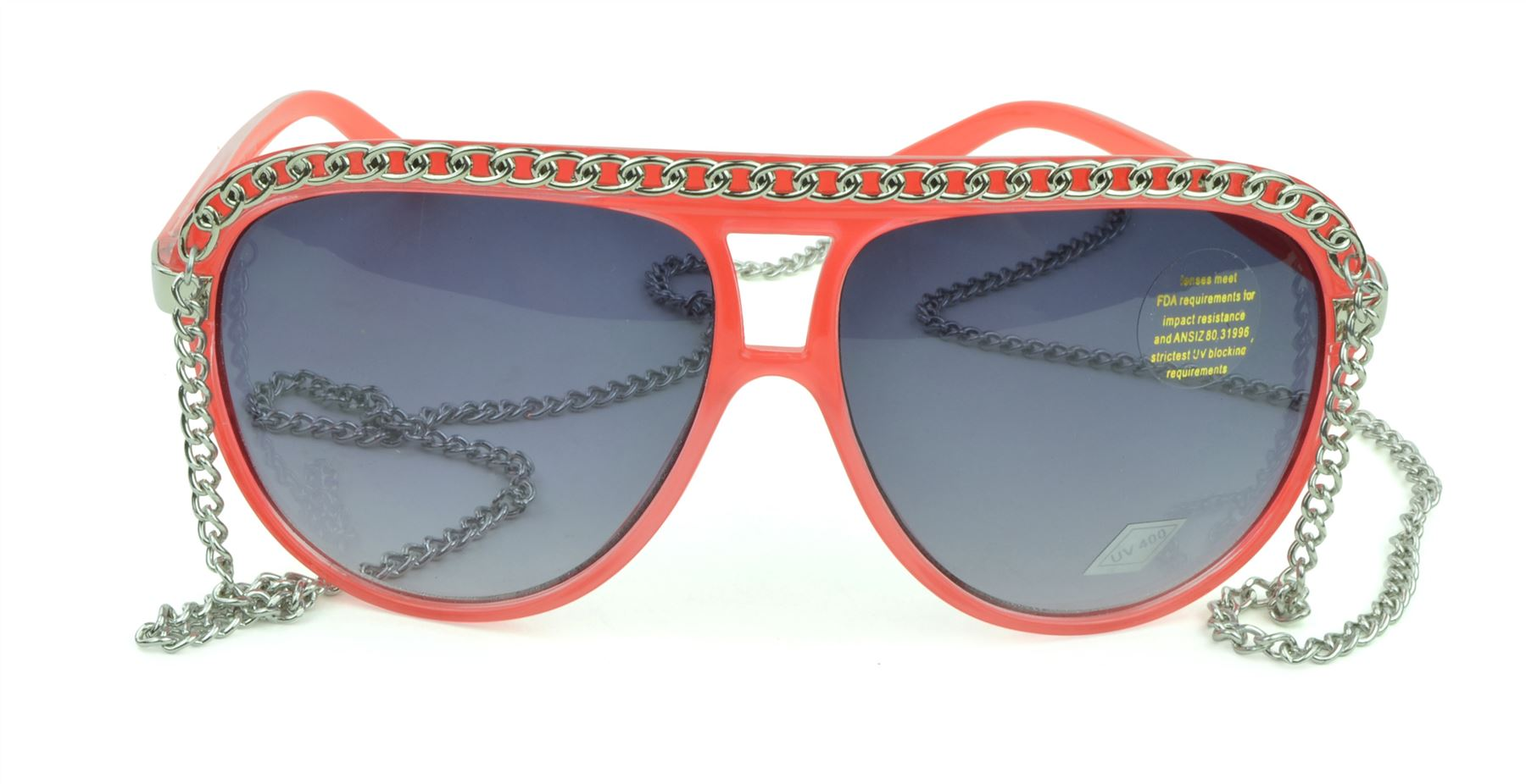 Belle Donne - Women's Hot Celebrity Style Chain Fashion Sunglasses - Watermelon One Size