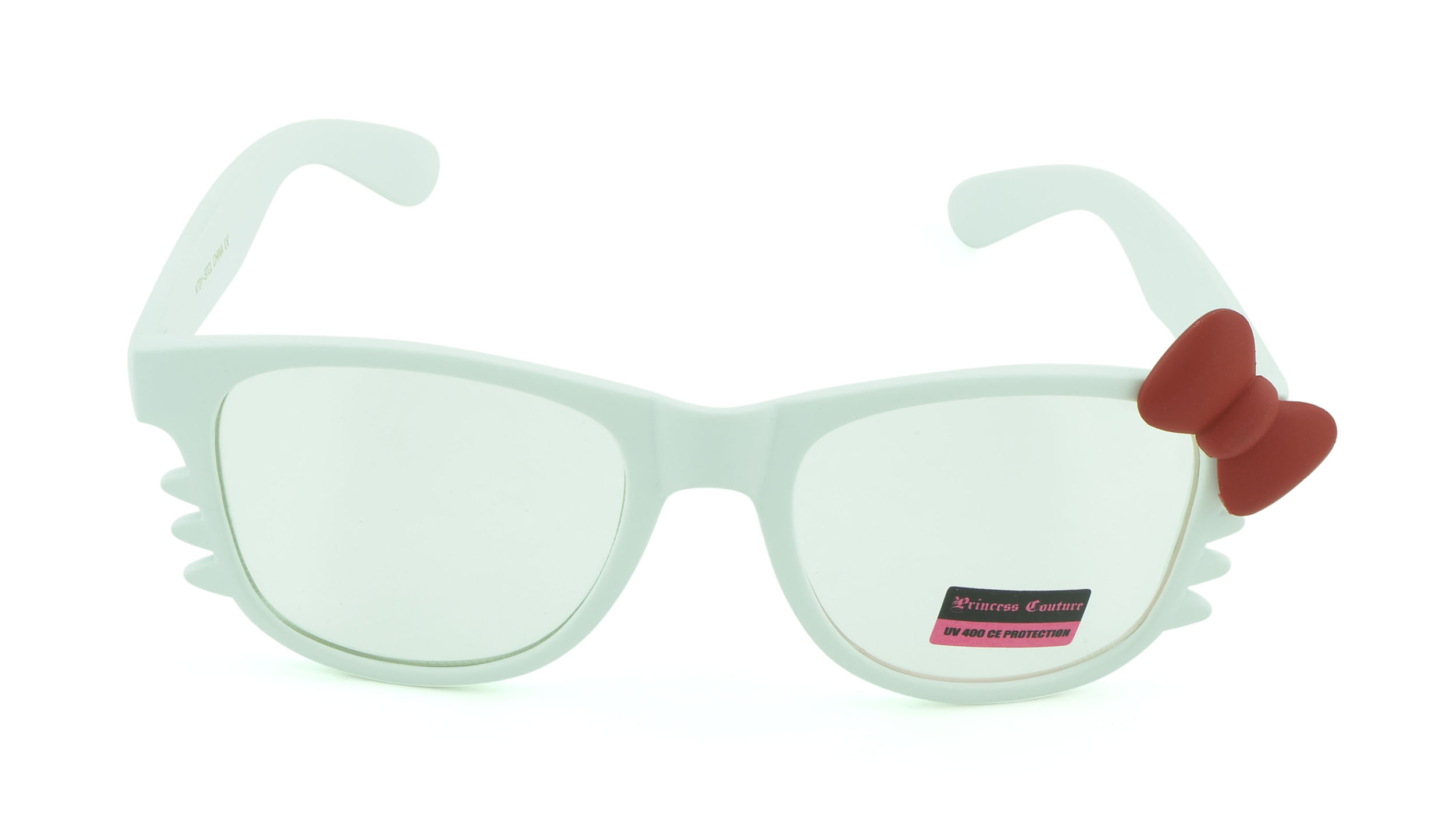 Belle Donne-Womens Kitty Style Sunglasses | Whiskers and Bow Accent-ClearWhite