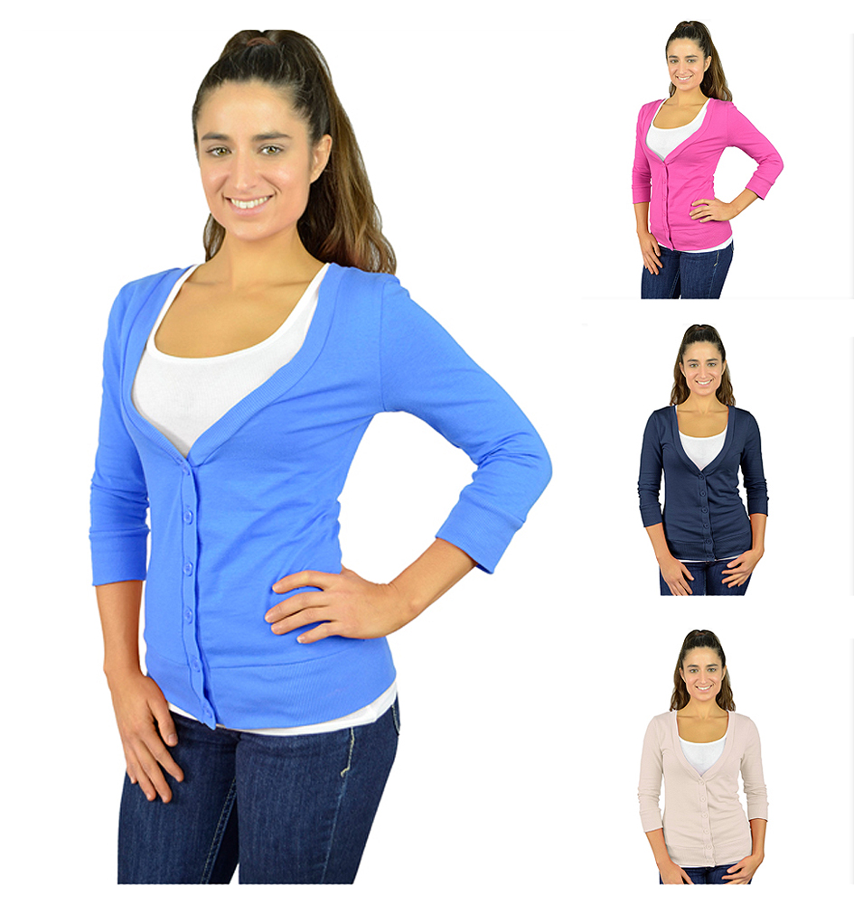 Belle Donne - Women's Soft 3/4 Sleeve V-Neck 6 Button Cardigan - Many Colors