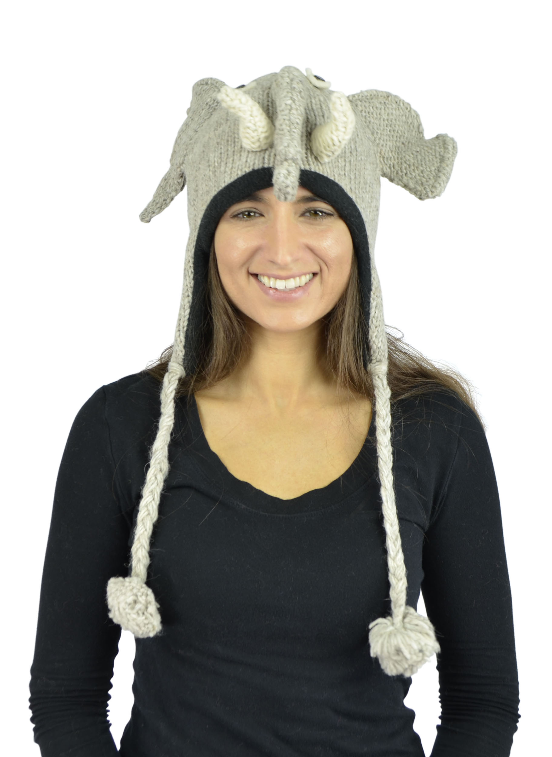 Belle Donne - Unisex Winter Knit Elephant Animal Hats With Pom Pom - Gray