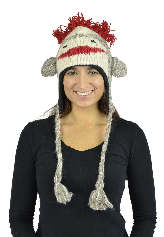 Belle Donne - Unisex Animal Hats - 100% Wool Nepal Pom Pom Nepal-9 Grey Monkey