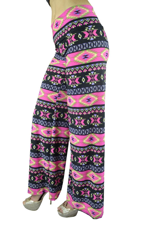 Belle Donne Women Palazzo Pants Chevron Aztec Tribal Highwaist Pants - Pink/Small