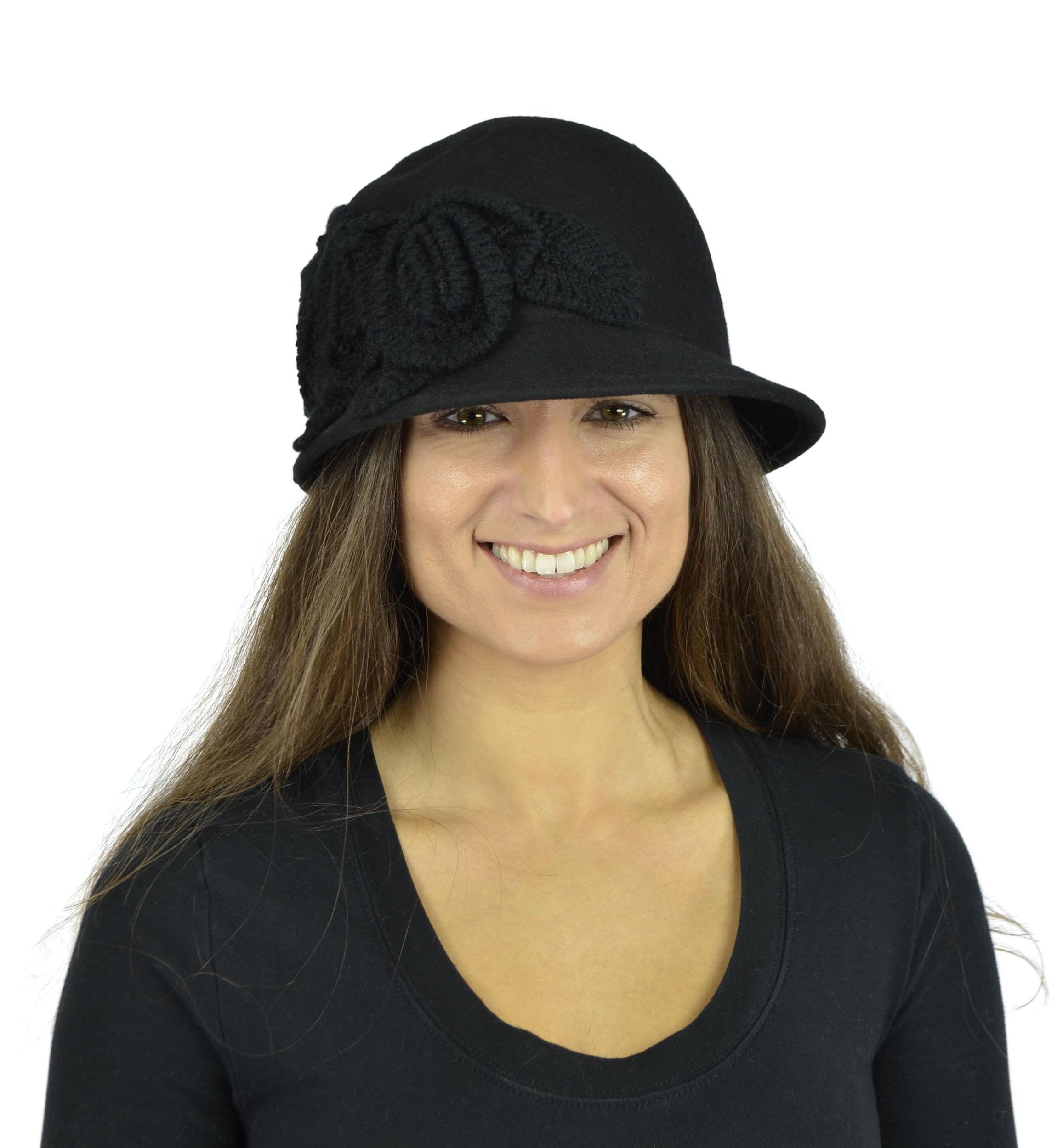 Belle Donne - Women's Pure Wool Cloche Hats - Black