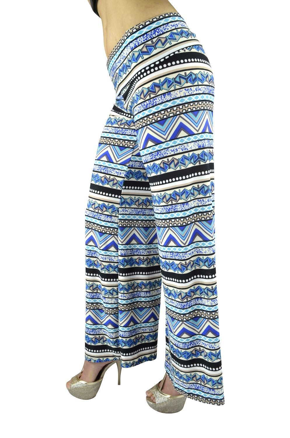 Belle Donne Women Palazzo Pants Chevron Aztec Tribal HighWaist Pants - Blue/Small