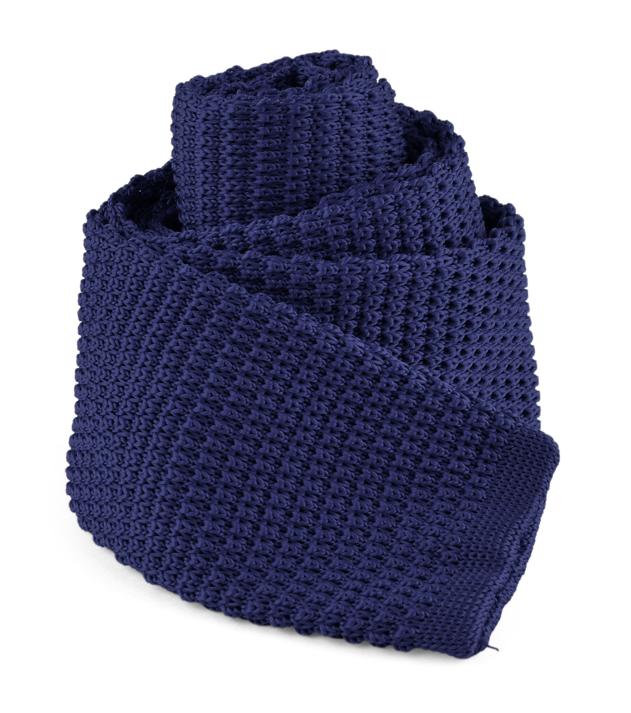 """Moda Di Raza - Mens Casual Solid Color Waffle Knit Woven Square End Neck Tie - 2.25"""" - Navy Blue"""
