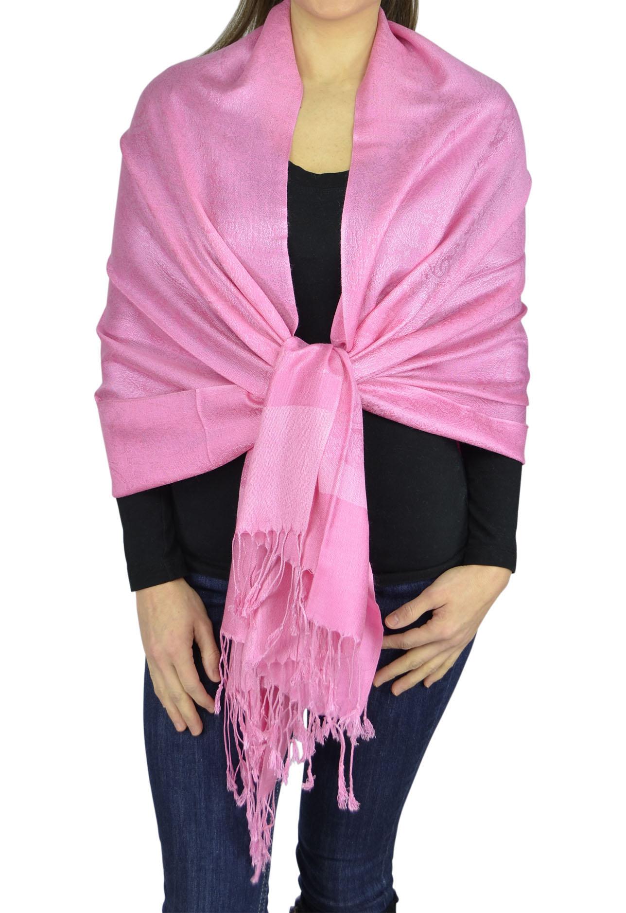 Belle Donne Jacquard Paisley Pashmina Soft Elegant Scarves Wrap Shawl Stole - Bright Pink