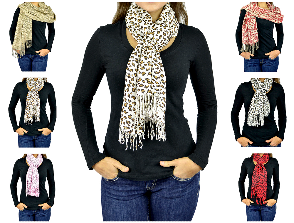 Pashmina Scarf Women Scarfs Soft Wrap Shawl Animal Print: Zebra Leopard Giraffe Scarves By Belle Donne