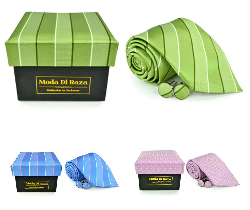Moda Di Raza Men's NeckTie 3.0 With Cufflink n Gift Box Wedding Formal Events