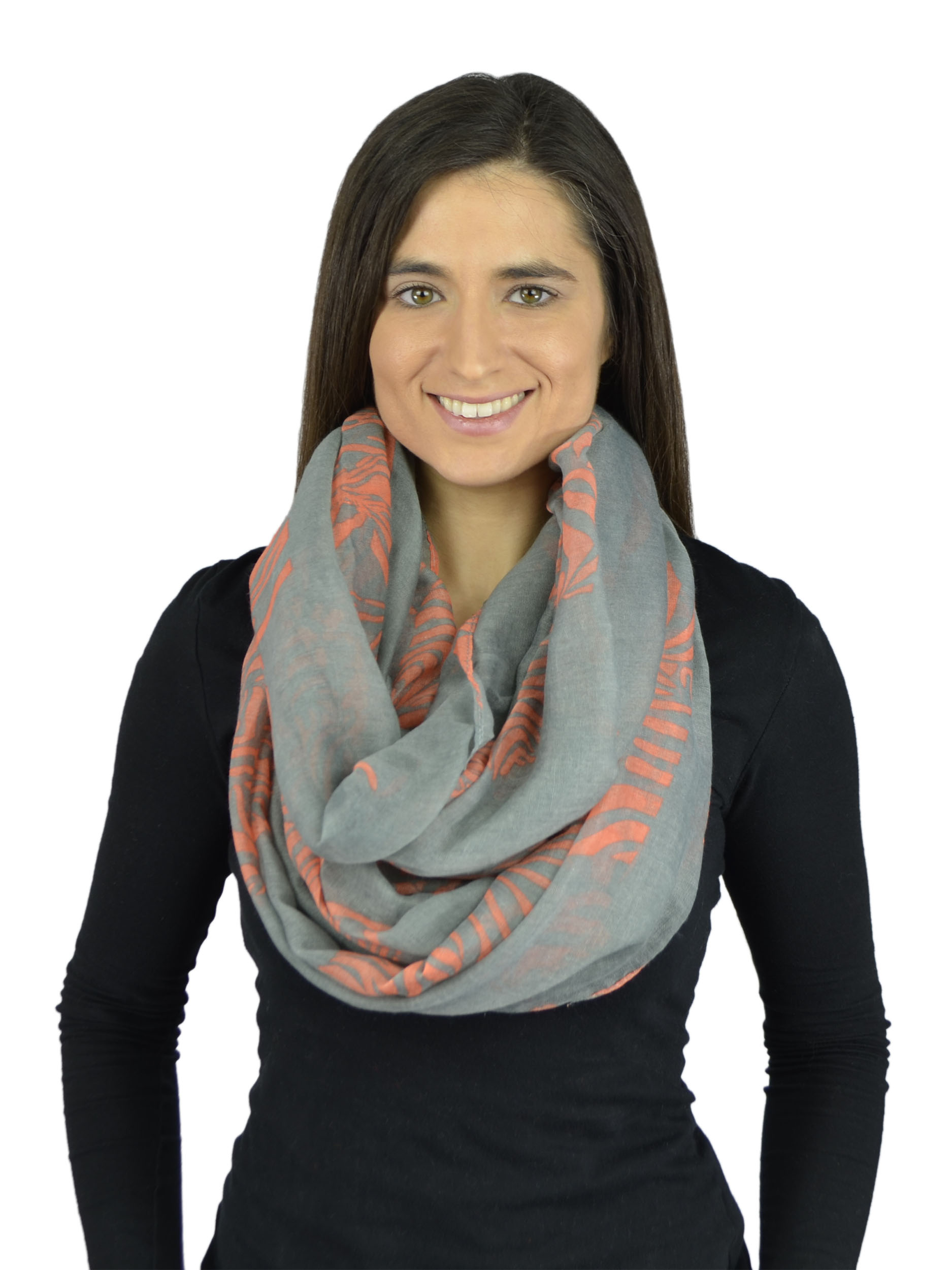 Belle Donne - Womens Mens Infinity Loop Scarves Beautiful Fashion Pattern Prints - Charcoal