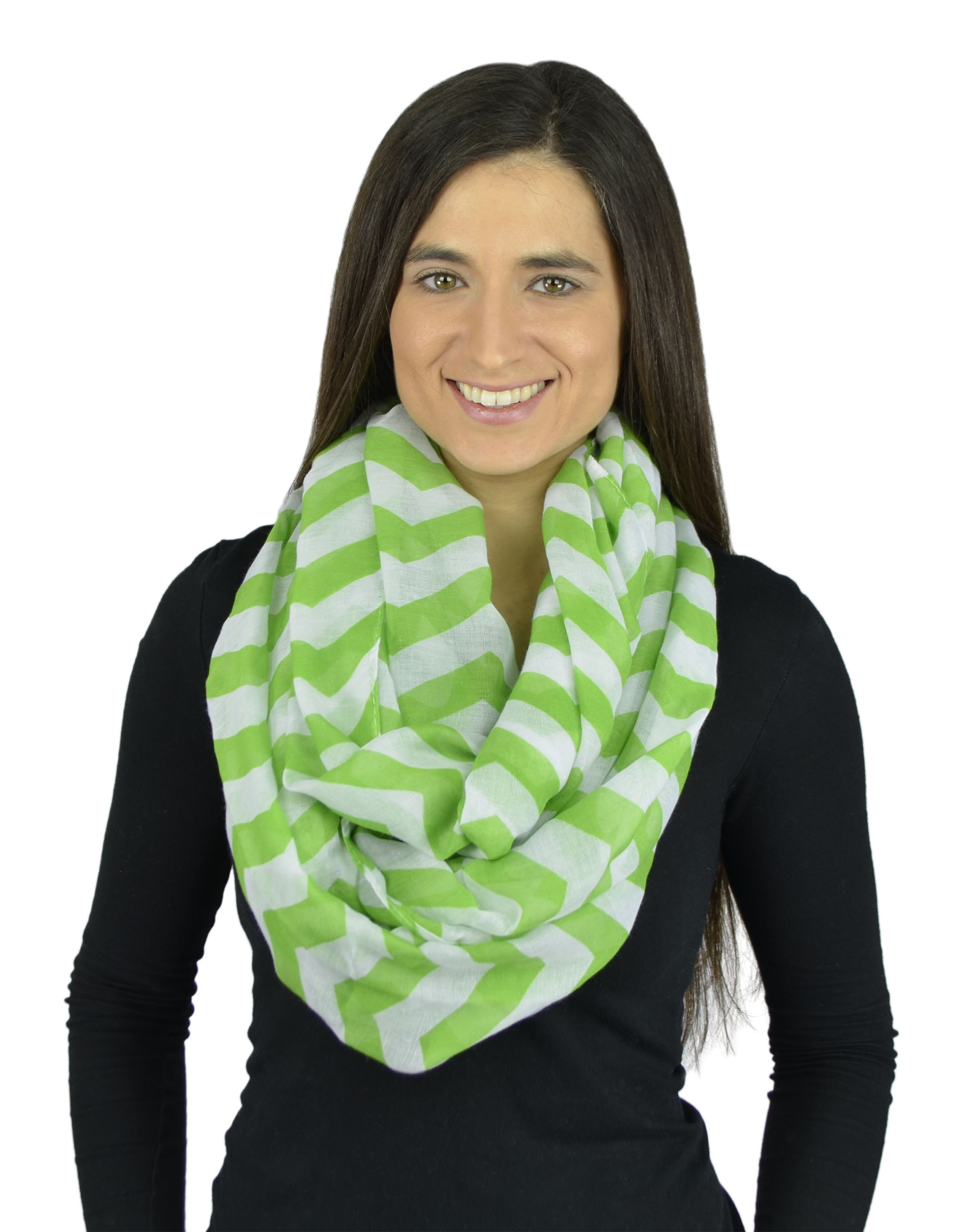 Belle Donne - Womens Mens Infinity Loop Scarves Beautiful Fashion Pattern Prints - Green