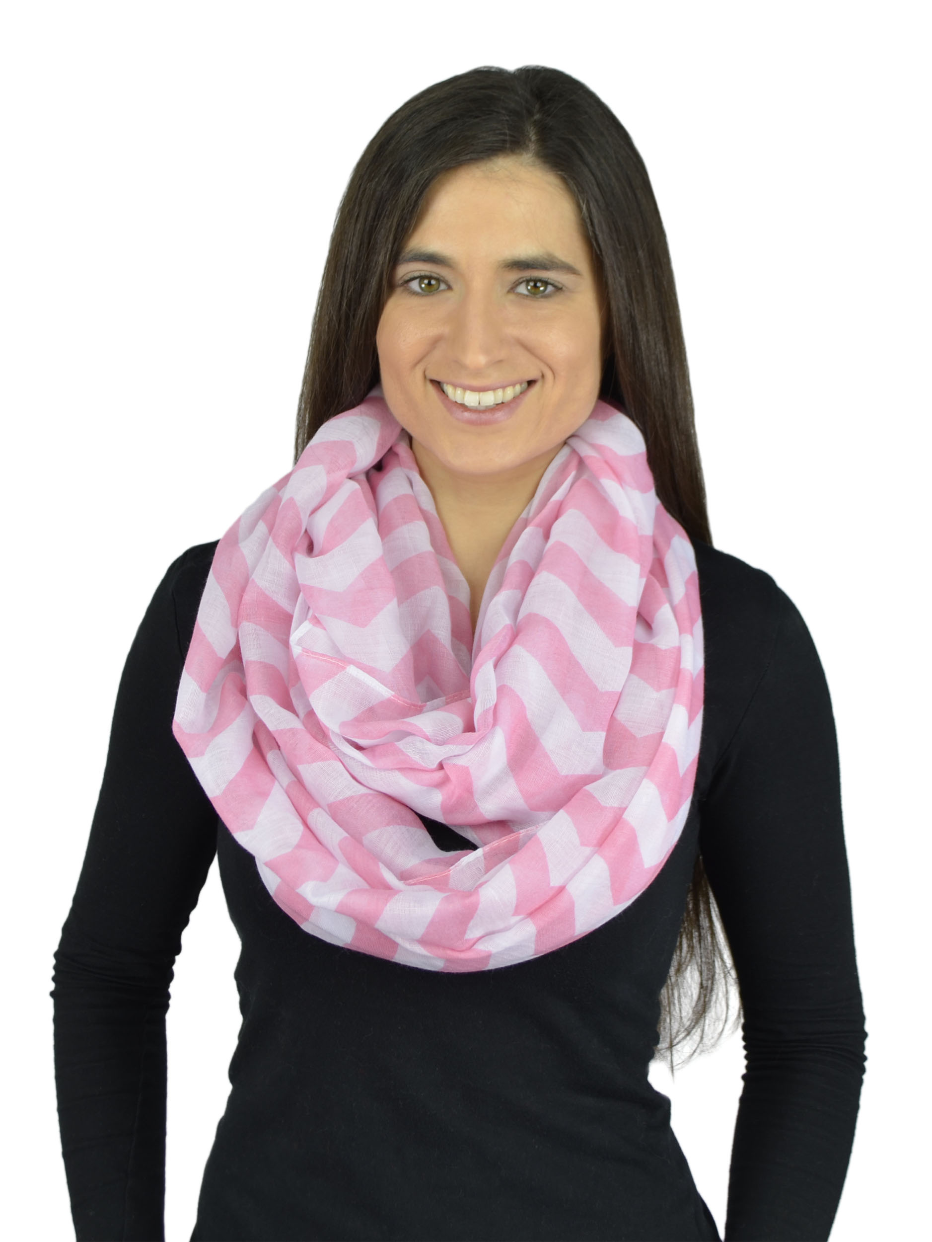 Belle Donne - Womens Mens Infinity Loop Scarves Beautiful Fashion Pattern Prints - Pink