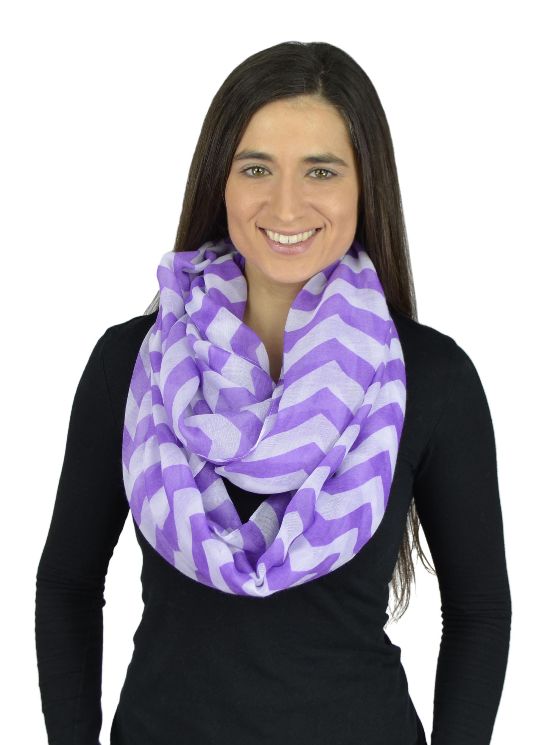 Belle Donne - Womens Mens Infinity Loop Scarves Beautiful Fashion Pattern Prints - Purple
