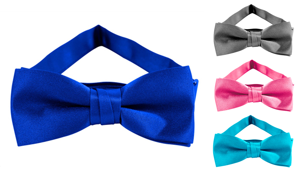 Jacob Alexander- Satin Feel Finish Boys Bowtie -Banded Pretied Bowtie- Many Colors
