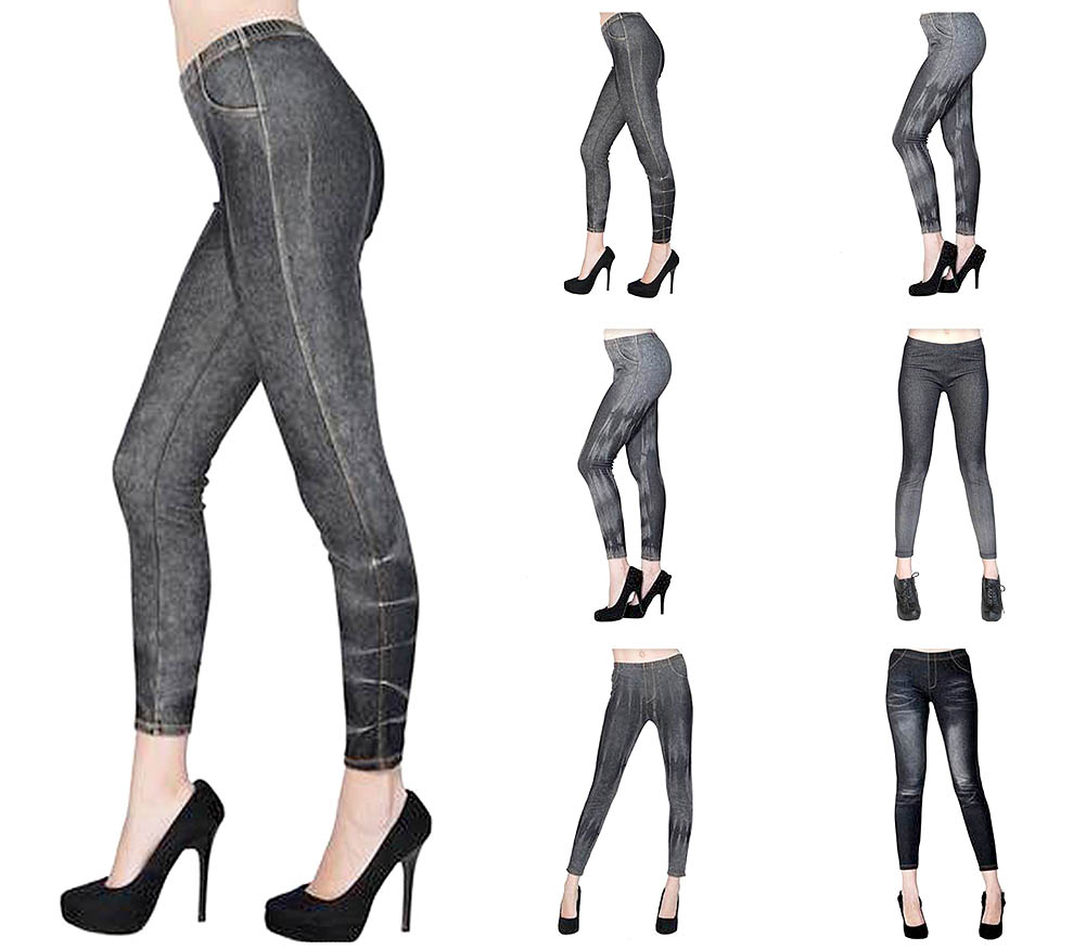 Women Legging / Jeggings / Tights Denim Print Ankle Length Footless- One Size