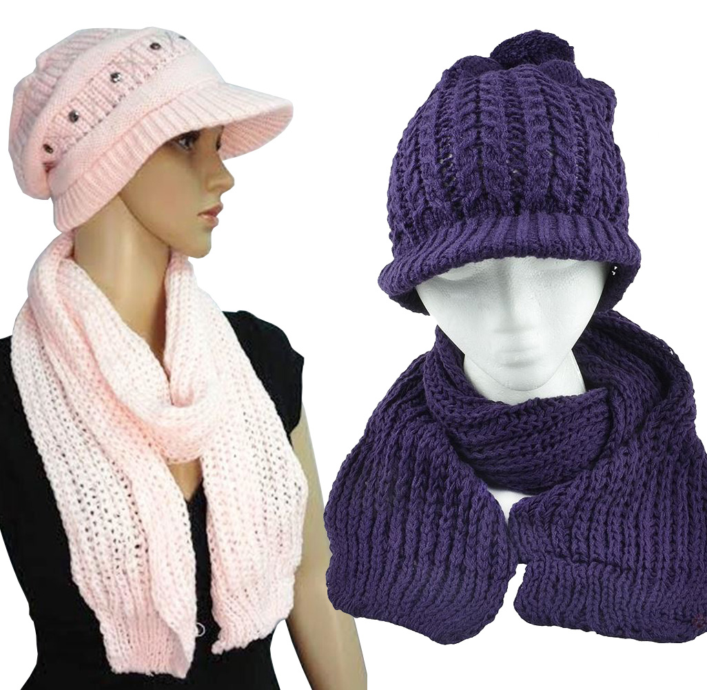 Hand Cable Knitted Hat and Scarf Set