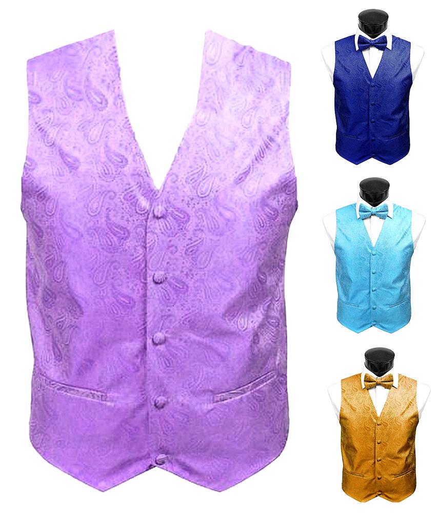 Dabung Men's Paisley Design Waistcoat Woven Wedding Tuxedo Vest