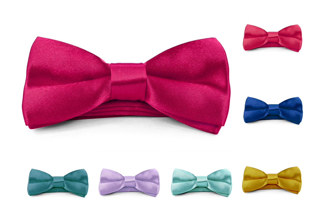 Boys Kids Childs Bow ties - Adjustable Pre Tied 4x2 Satin Silk Bowties Moda Di Raza