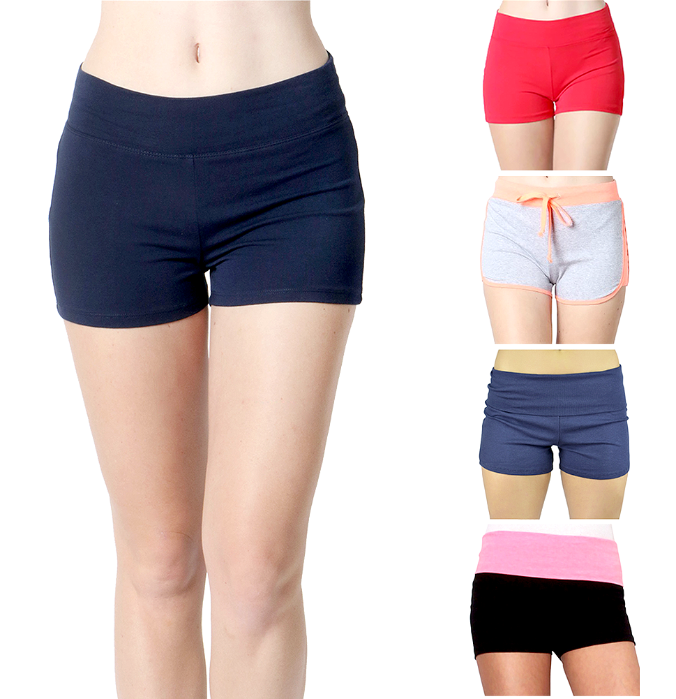 Women Yoga Shorts - Fold Over Cotton Shorts for Gym Girls by Belle Donne